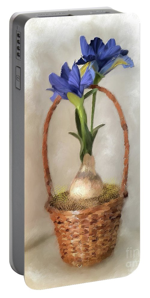 Iris Portable Battery Charger featuring the digital art Plain Blue Iris by Lois Bryan