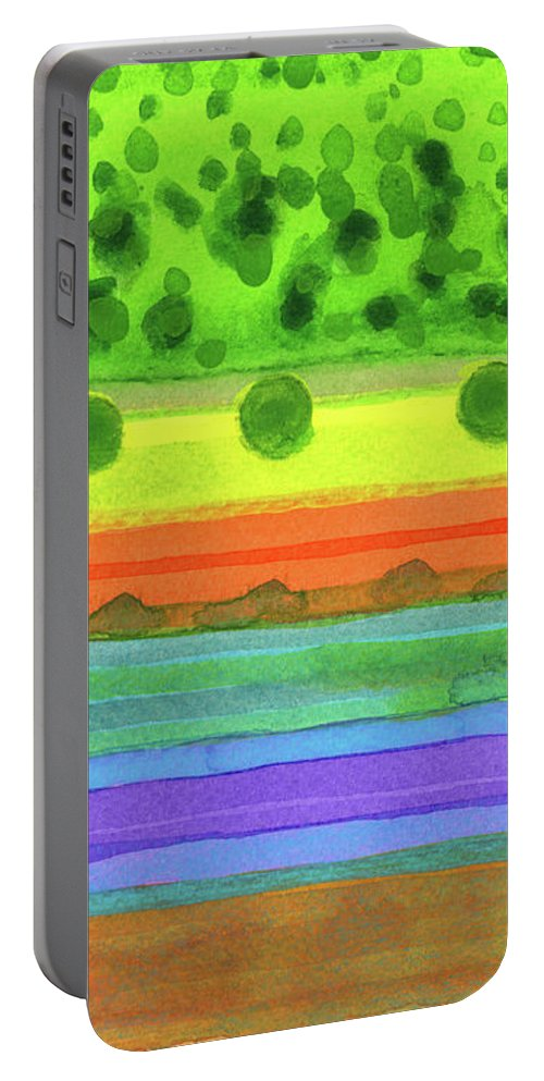Plain Portable Battery Charger featuring the painting Plain With Red Field by Heidi Capitaine