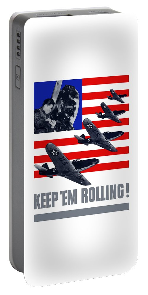 Fighter Plane Portable Battery Charger featuring the painting Planes -- Keep 'em Rolling by War Is Hell Store