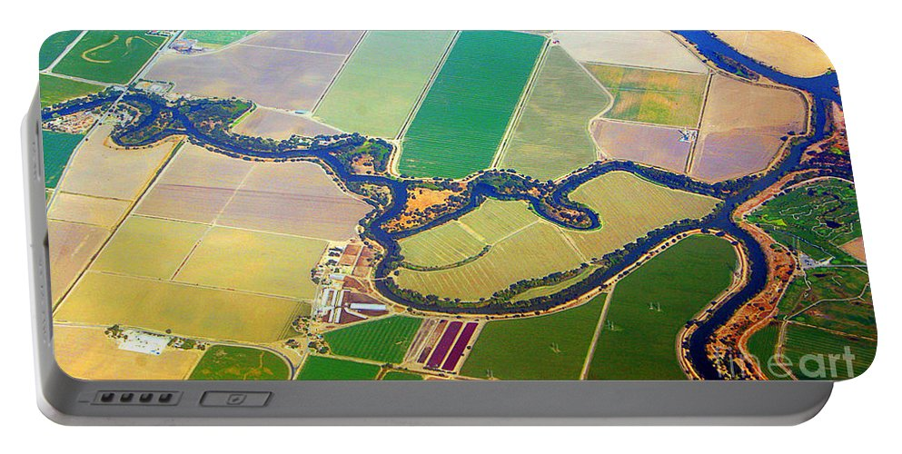 Abstracts Portable Battery Charger featuring the photograph Planet Art Colorful Midwest Aerial by James BO Insogna