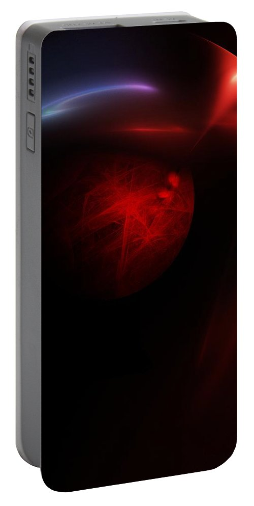 Abstract Digital Painting Portable Battery Charger featuring the digital art Planet Builder by David Lane