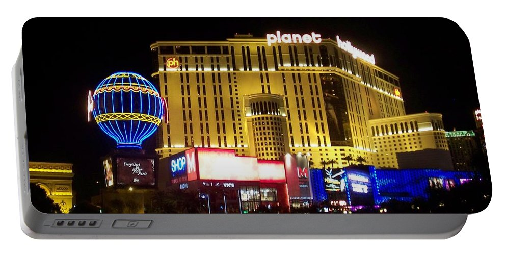 Vegas Portable Battery Charger featuring the photograph Planet Hollywood By Night by Anita Burgermeister