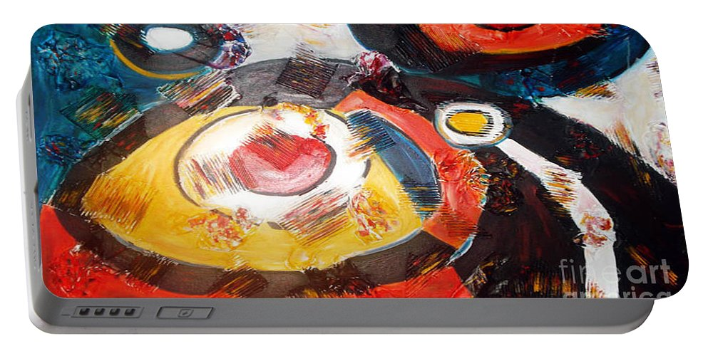 Acrylic Abstract Portable Battery Charger featuring the painting Planets Exploration by Yael VanGruber