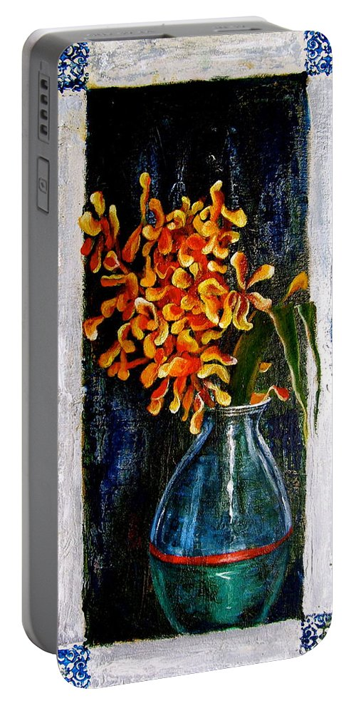 Beautiful Art Portable Battery Charger featuring the painting Plant by Laura Pierre-Louis
