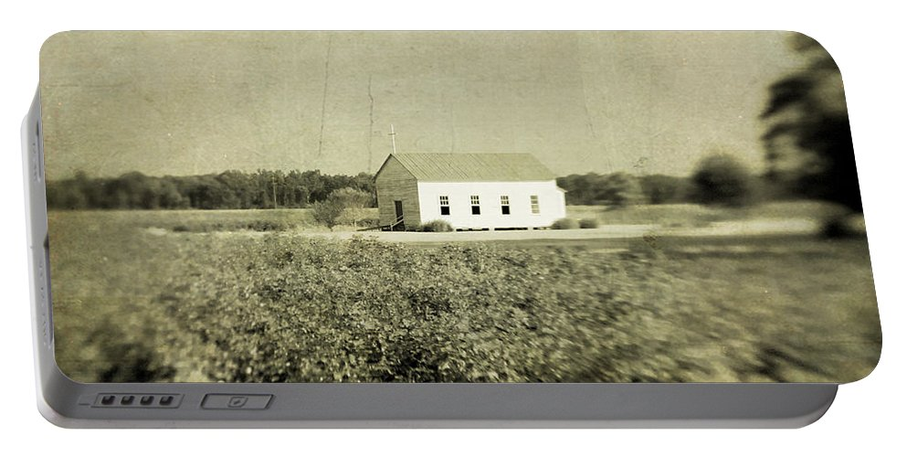 Church Portable Battery Charger featuring the photograph Plantation Church - Sepia Texture by Scott Pellegrin