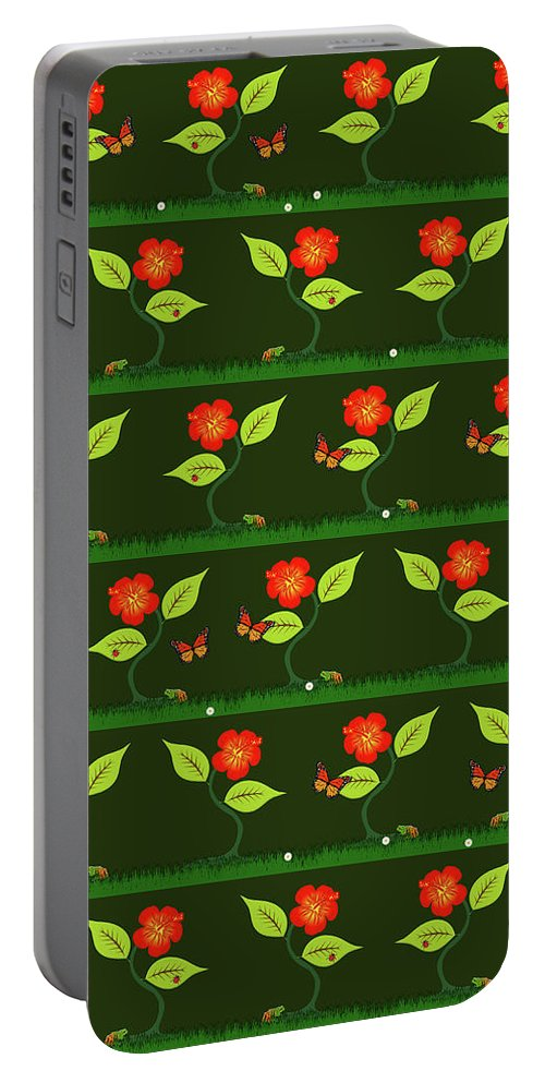 Pattern Portable Battery Charger featuring the digital art Plants And Flowers by Gaspar Avila