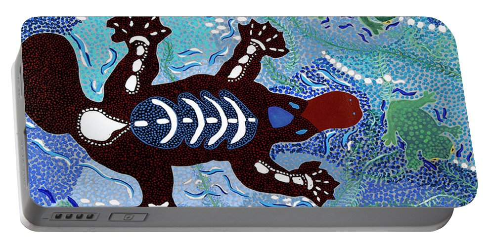 Australian Animals Portable Battery Charger featuring the painting Platypus Feeding by Pat Saunders-White