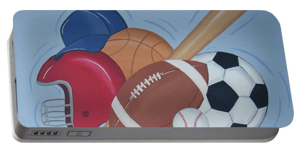 Balls Portable Battery Charger featuring the painting Play Ball by Valerie Carpenter
