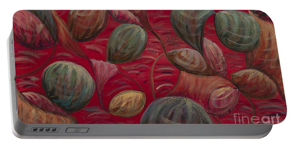 Red Portable Battery Charger featuring the painting Playful In Red by Nadine Rippelmeyer