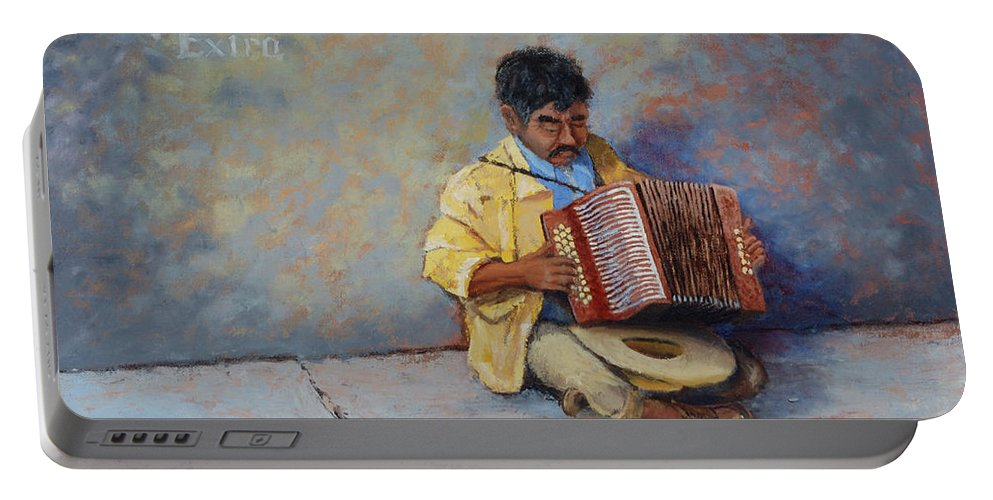 Mexico Portable Battery Charger featuring the painting Playing For Pesos by Jerry McElroy