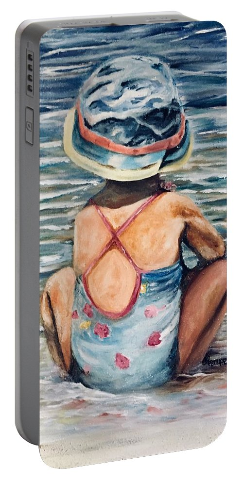 Water Scape Portable Battery Charger featuring the painting Playing In The Waves by Chuck Gebhardt
