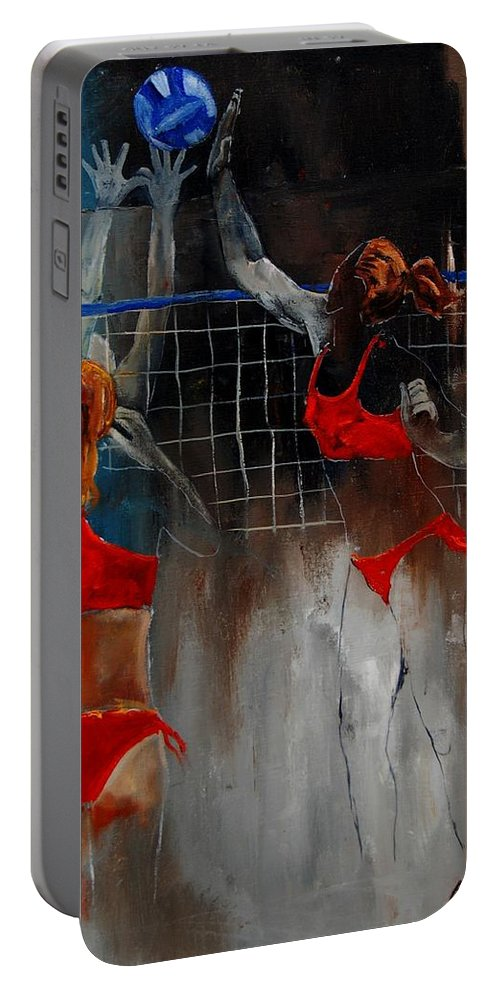 Sport Portable Battery Charger featuring the painting Playing Volley by Pol Ledent