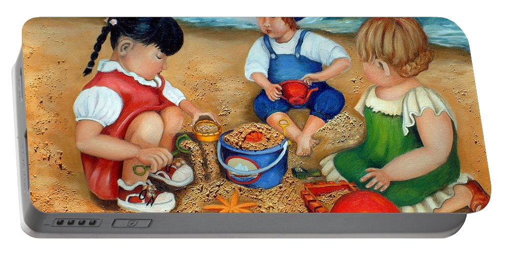 Beach Portable Battery Charger featuring the painting Playtime At The Beach by Portraits By NC