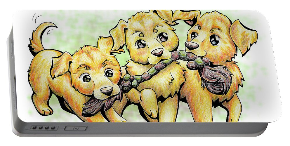 Puppy Portable Battery Charger featuring the drawing Playtime Golden Retriever by Sipporah Art and Illustration