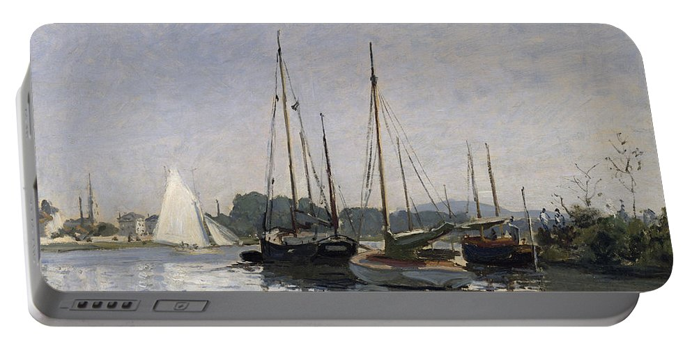 Pleasure Boats Portable Battery Charger featuring the painting Pleasure Boats Argenteuil by Claude Monet