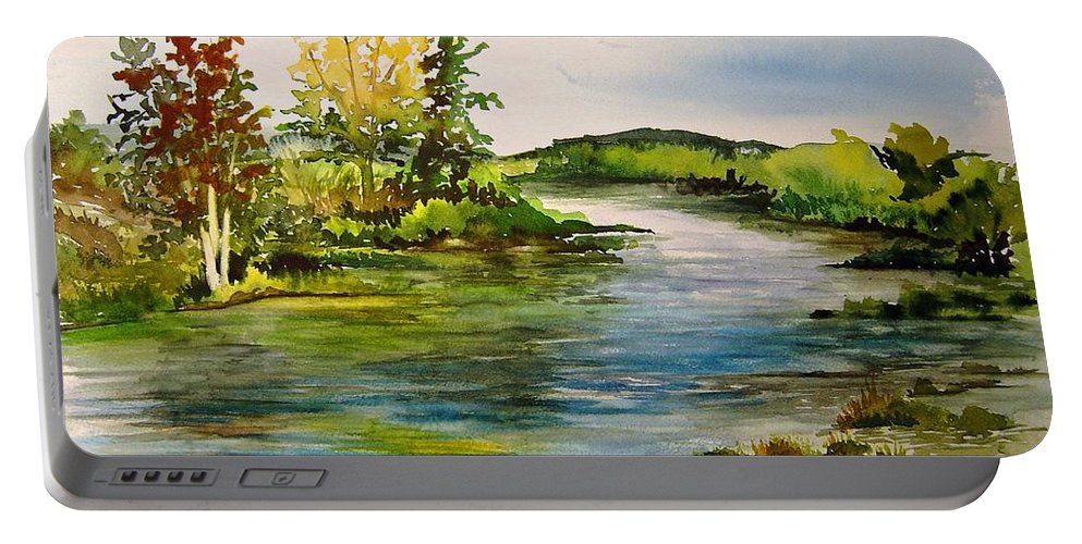 Grand Beach Manitoba Lagoon Portable Battery Charger featuring the painting Plein Air At Grand Beach Lagoon by Joanne Smoley