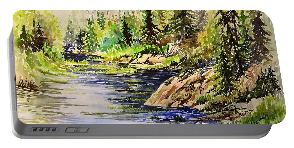 Nutimik Lake Manitoba Landscape Portable Battery Charger featuring the painting Plein Air At Nutimik Lake In Manitoba by Joanne Smoley