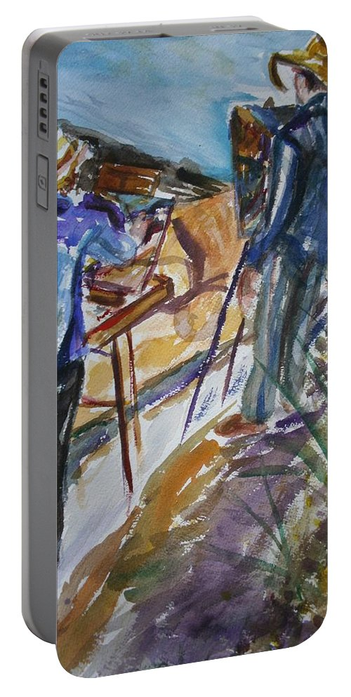 Impressionist Portable Battery Charger featuring the painting Plein Air Painters - Original Watercolor by Quin Sweetman