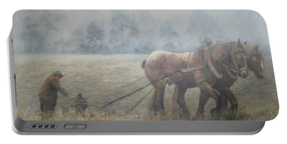 Lnature Portable Battery Charger featuring the painting Plowing It The Old Way by Donna Tucker
