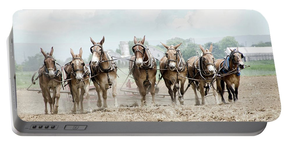Farm Portable Battery Charger featuring the photograph Plowing The Fields by Eleanor Bortnick