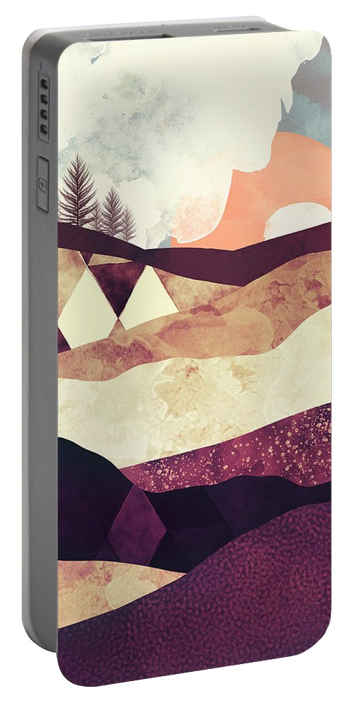 Field Portable Battery Charger featuring the digital art Plum Fields by Spacefrog Designs