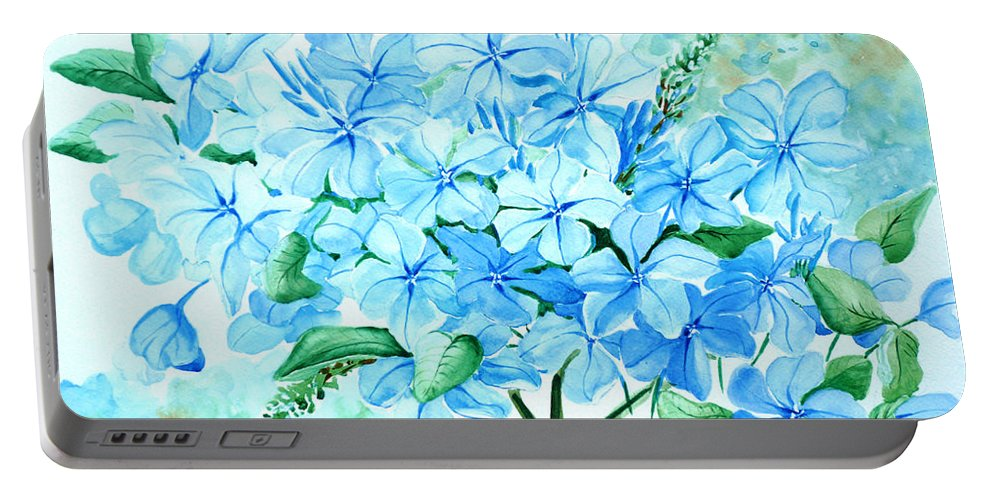 Floral Blue Painting Plumbago Painting Flower Painting Botanical Painting Bloom Blue Painting Portable Battery Charger featuring the painting Plumbago by Karin Dawn Kelshall- Best