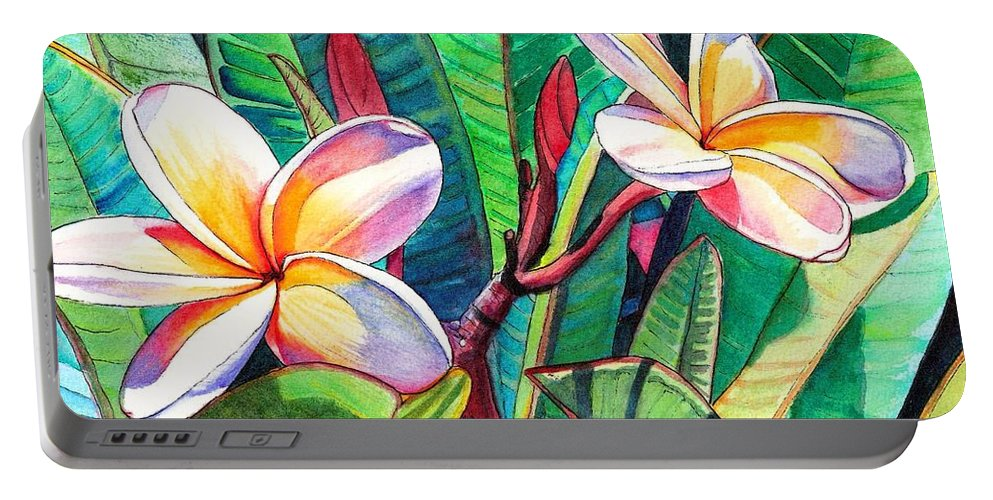 Plumeria Portable Battery Charger featuring the painting Plumeria Garden by Marionette Taboniar