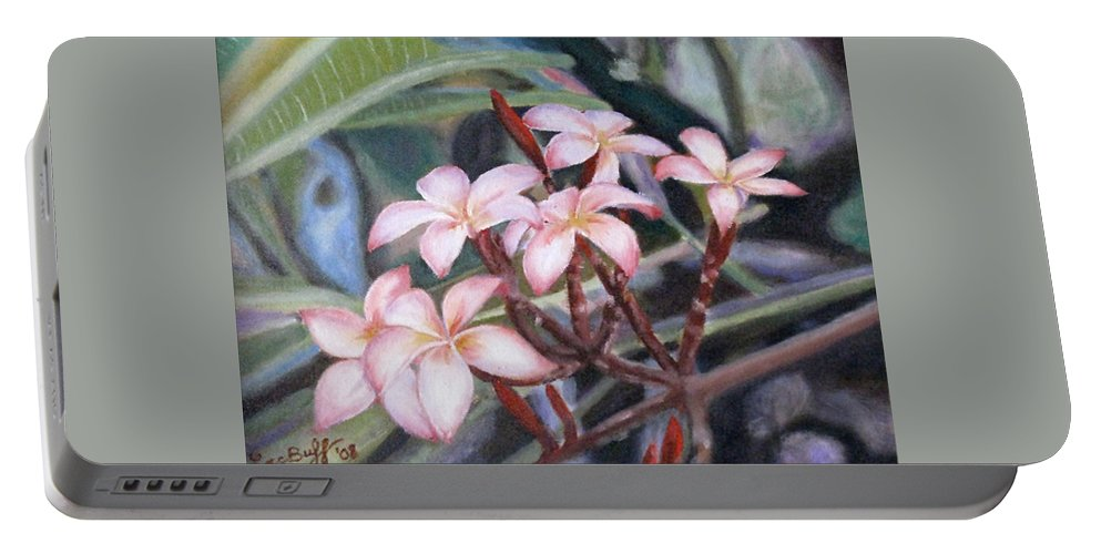 Flowers Portable Battery Charger featuring the painting Plumeria, 9x12, Oil, '08 by Lac Buffamonti