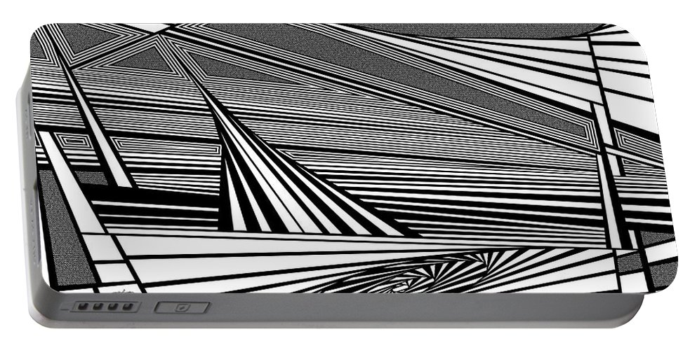 Dynamic Black And White Portable Battery Charger featuring the painting Plunk by Douglas Christian Larsen
