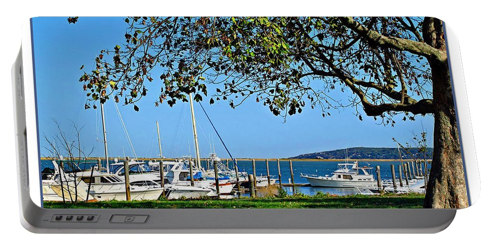 Atlantic Portable Battery Charger featuring the photograph Plymouth Harbor by Joan Minchak