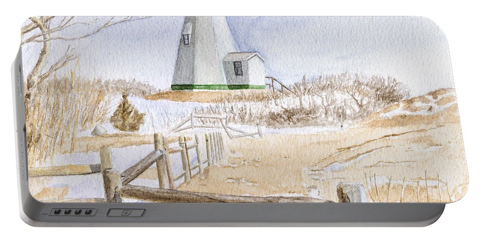 Lighthosue Portable Battery Charger featuring the painting Plymouth Light In Winter by Dominic White