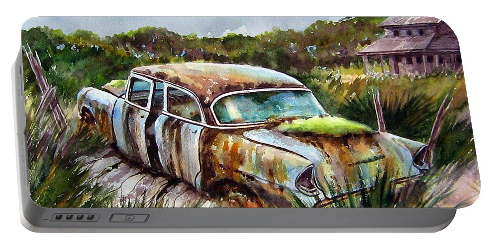 Plymouth Portable Battery Charger featuring the painting Plymouth On The Rocks by Ron Morrison