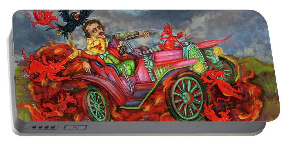 Poe Portable Battery Charger featuring the digital art Poe Enjoy The Countryside by Clown Coffins