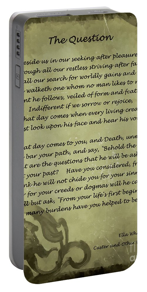 Vintage Poem Portable Battery Charger featuring the digital art Poem The Question By Ella Wheeler Wilcox by Olga Hamilton