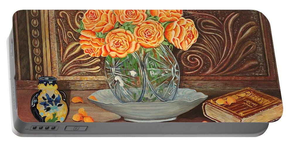 Roses Portable Battery Charger featuring the painting Poetry Of Roses by Caroline Street