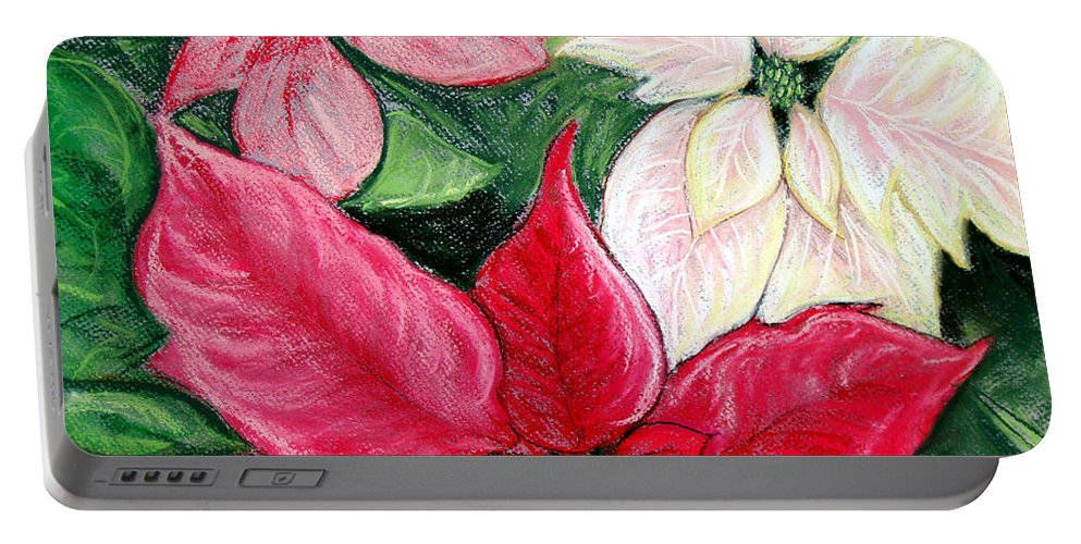 Poinsettia Portable Battery Charger featuring the pastel Poinsettia Pastel by Nancy Mueller