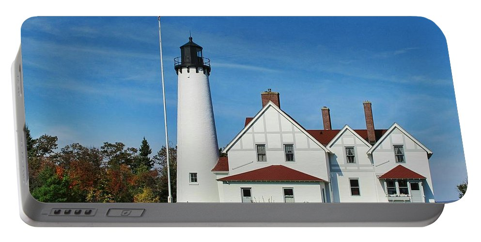 Point Iroquois Lighthouse Portable Battery Charger featuring the photograph Point Iroquois by Pat Cook