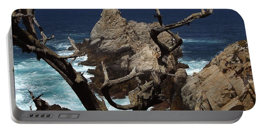 Carmel Portable Battery Charger featuring the photograph Point Lobos Rocks And Branches by Charlene Mitchell