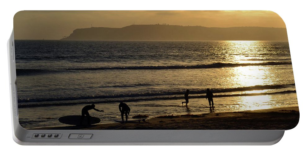 California Portable Battery Charger featuring the photograph Point Loma California Surfers by Katy Hawk