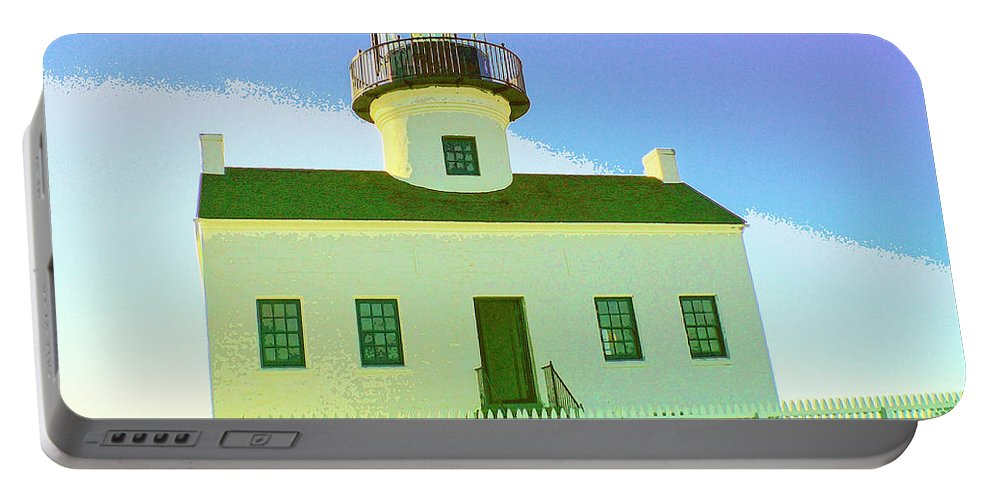Point Loma Portable Battery Charger featuring the mixed media Point Loma Lighthouse by Dominic Piperata