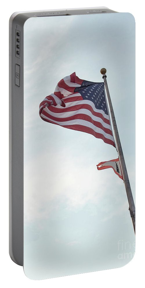 Flag Portable Battery Charger featuring the photograph Point No Point American Flag by Benjamin Hanna