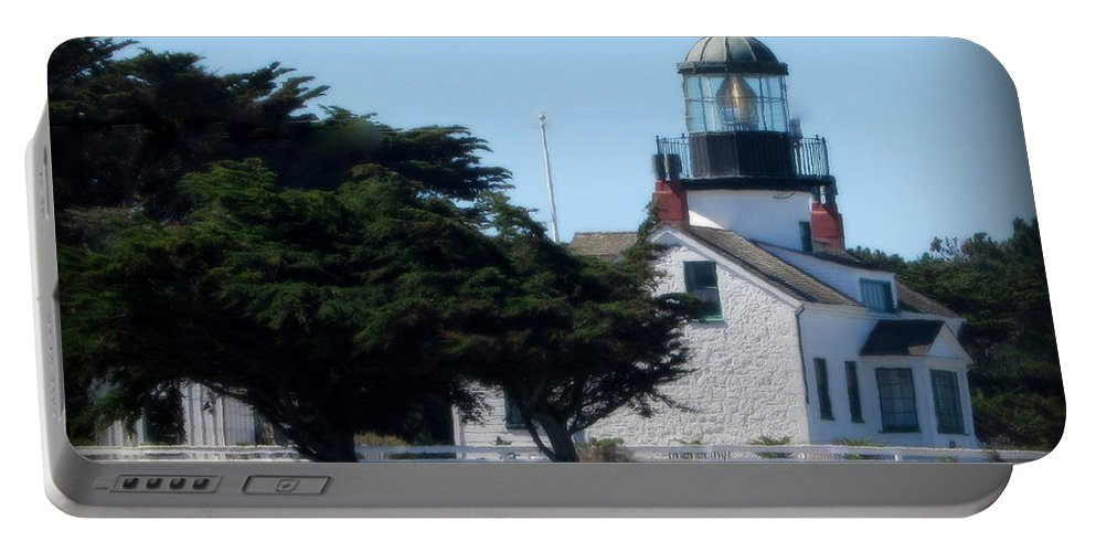 Lighthouse Portable Battery Charger featuring the photograph Point Pinos Lighthouse In Pacific Grove, California by Joy Patzner