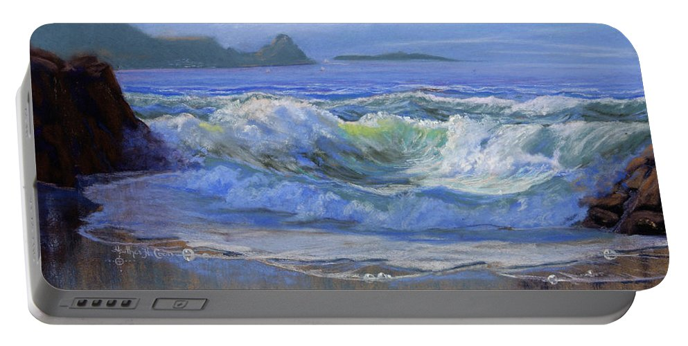 Seascape Portable Battery Charger featuring the painting Point Reyes by Heather Coen