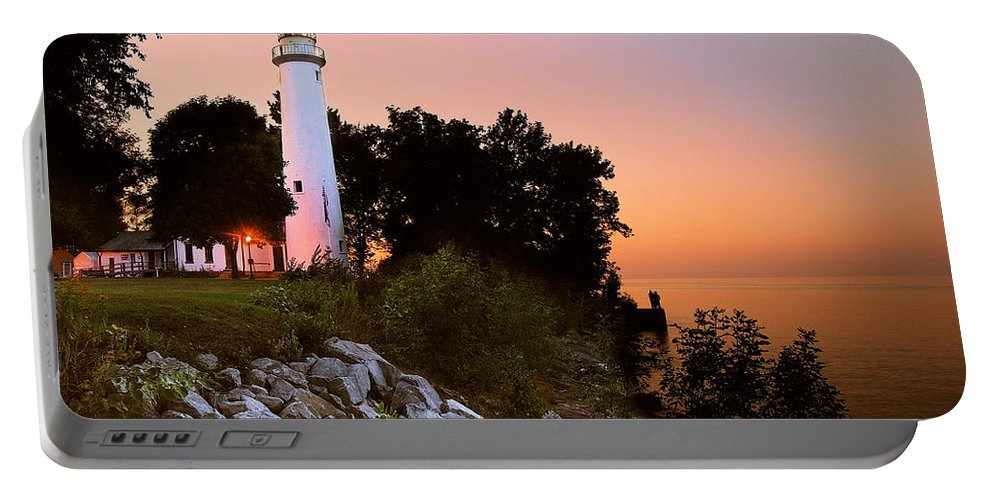 Landscape Portable Battery Charger featuring the photograph Pointe Aux Barques by Michael Peychich