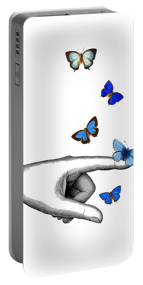 Pointing Portable Battery Charger featuring the digital art Pointing Finger With Blue Butterflies by Madame Memento