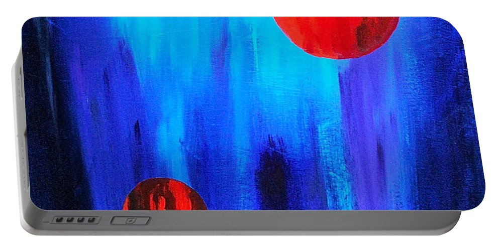 Abstracts Red And Blue By Herschel Fall Portable Battery Charger featuring the painting Points Of Interest by Herschel Fall