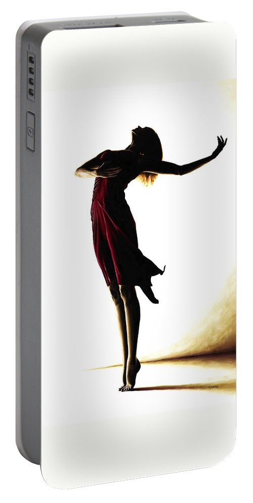 Ballet Portable Battery Charger featuring the painting Poise in Silhouette by Richard Young