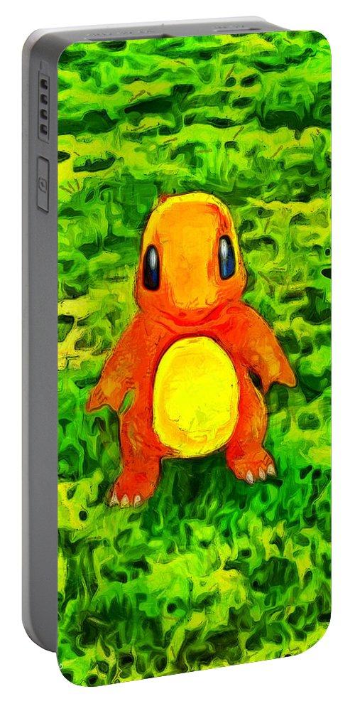 Pokemon Go Charmander Portable Battery Charger featuring the digital art Pokemon Go Charmander - Da by Leonardo Digenio