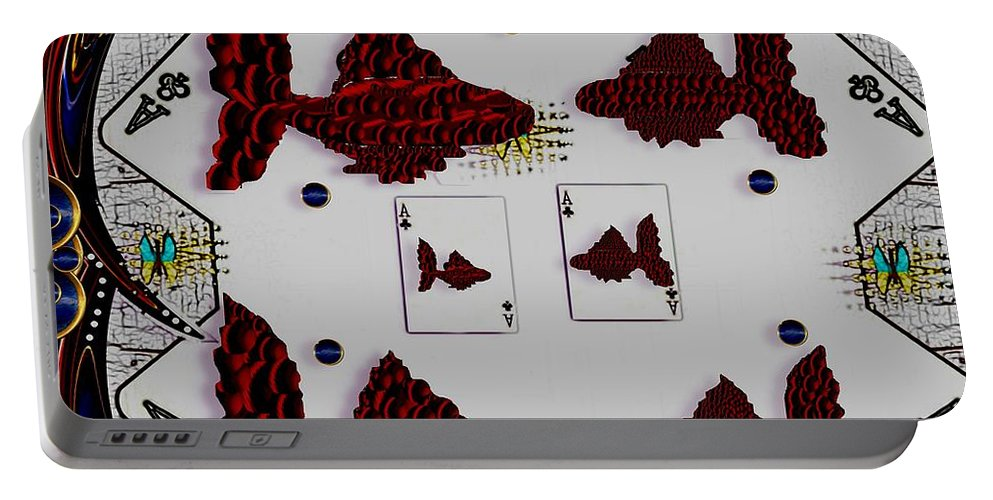Poker Portable Battery Charger featuring the mixed media Poker Art by Pepita Selles