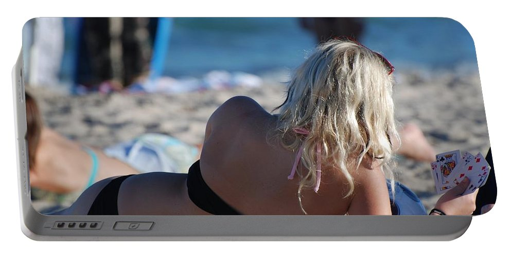 Cards Portable Battery Charger featuring the photograph Poker At The Beach by Rob Hans